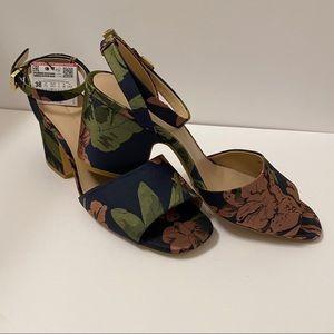 "ZARA Floral Sandals, 3"" Heels, NWT, Size 7.5 (38)"